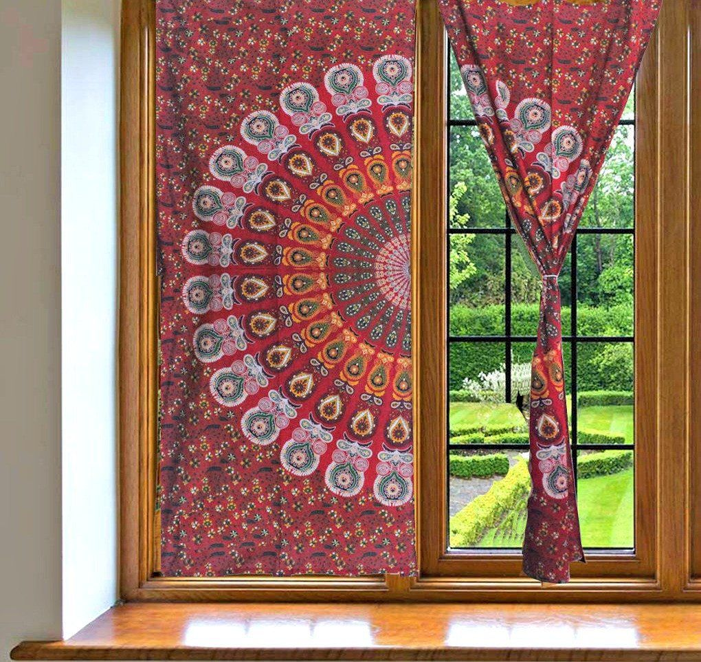 Red Mandala Tapestry Window Drapes Bohemian Indian Balcony