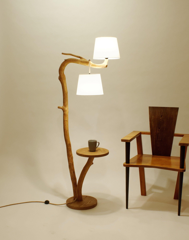 Lampa Podlogowa Stolik Kawowy Lampa Z Drewna Dziki Dab Lampa Z