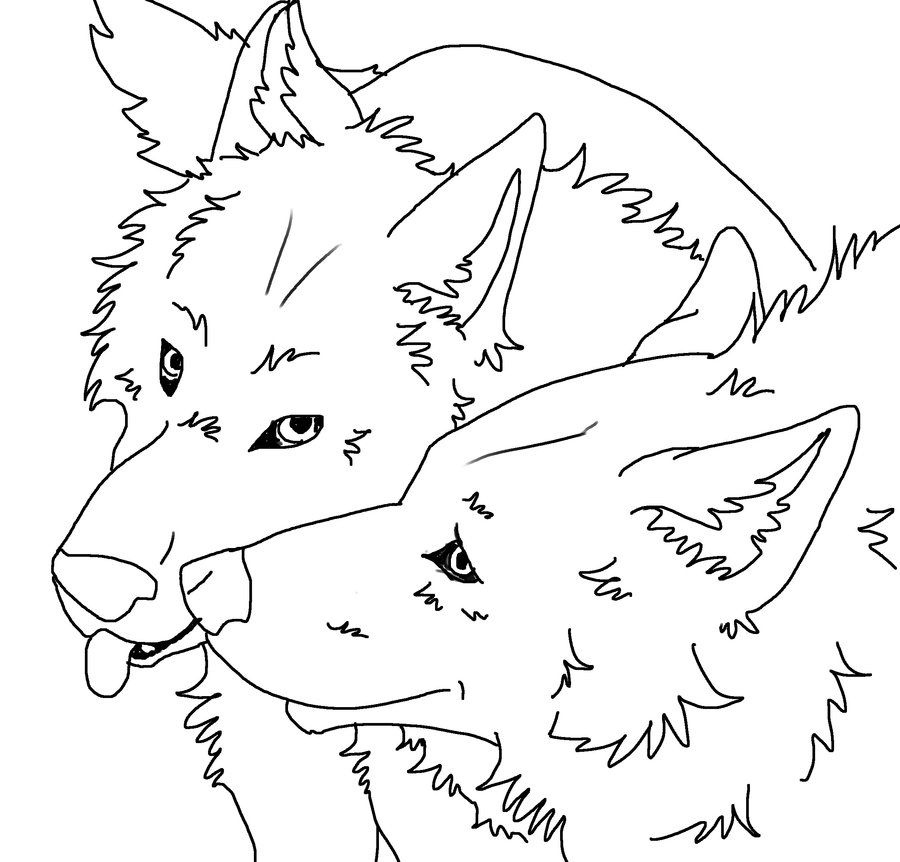 free lineart wolf couple by jewlzdecgan4ever - Anime Wolf Couples Coloring Pages