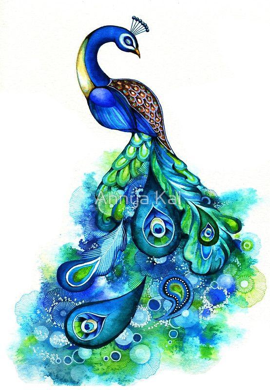 Peacock Watercolor by Annya Kai in 2021 Watercolor
