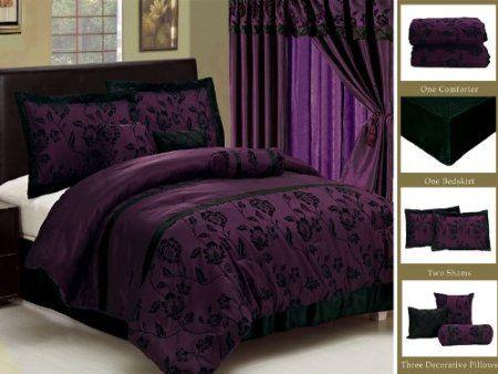 Amazon Com 7 Piece Faux Silk Satin Comforter Set Bedding In A Bag