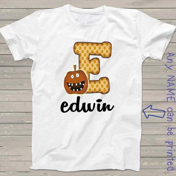 2764006a5e477 Halloween t-shirt Personalized alphabet letter E shirt fall gifts ...