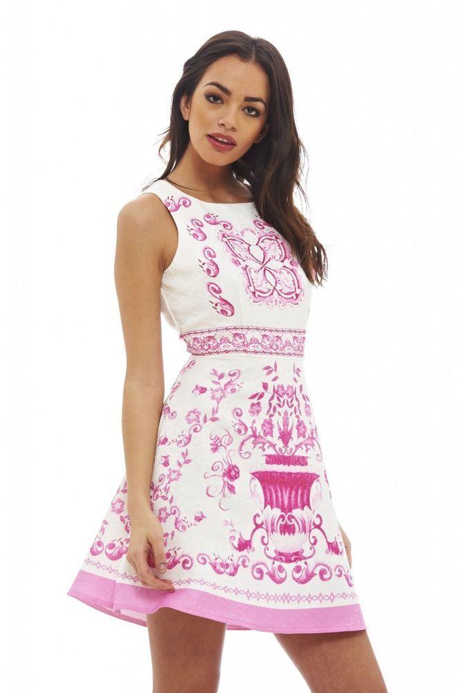 22f17e6c2a AX Paris Womens Pink Baroque Printed Skater Dress Stylish Glam Ladies  Clothing