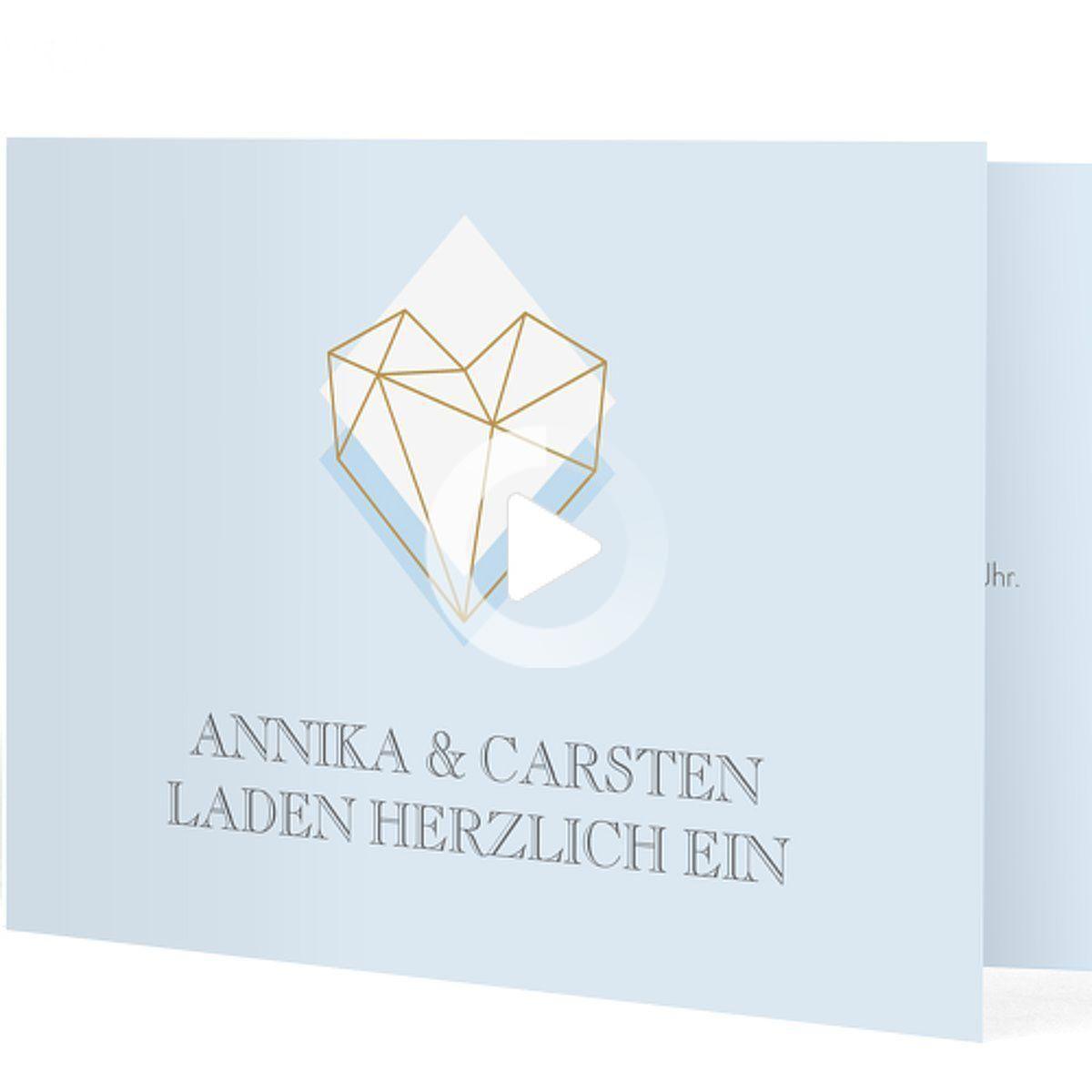 """Photo of Hochzeitseinladung """"Geometric Love"""", pastellblau, Klappkarte…"""