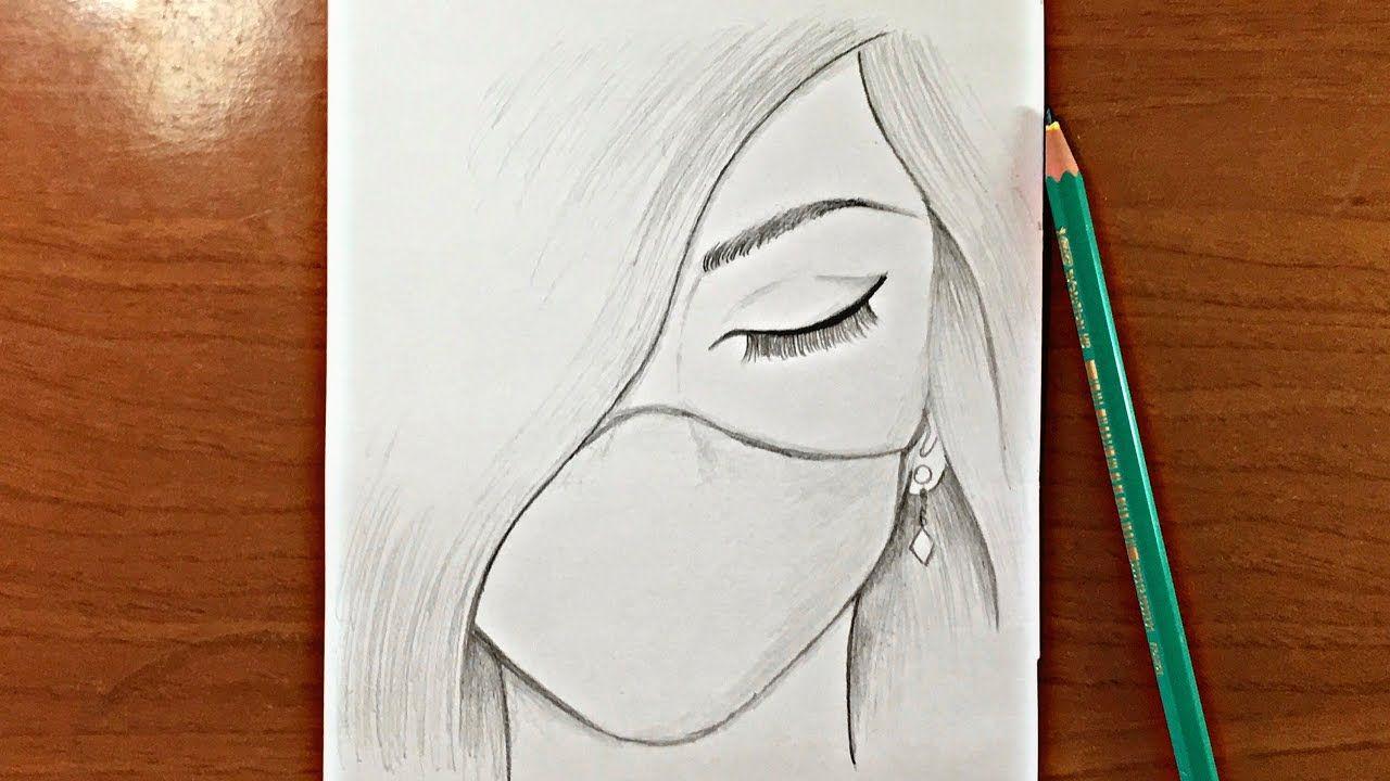 رسم سهل جدا تعليم رسم بنت حزينة ترتدي كمامة بالرصاص للمبتدئين Youtube Art Drawings Sketches Simple Bff Drawings Beauty Art Drawings