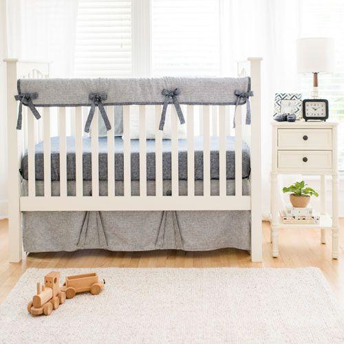 Washed Linen Indigo Stripe Collection Crib Bedding Boy Baby Boy