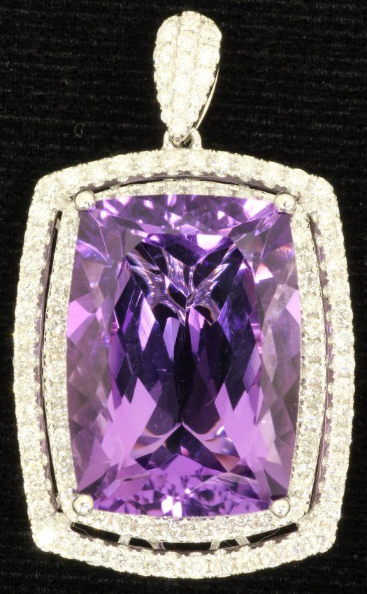 Amethyst And Diamond Pendant Set In 14kt Gold