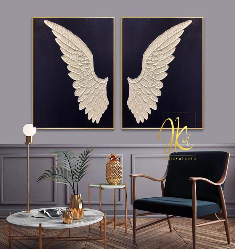 Angel wings wall decor oversize paintings large black and