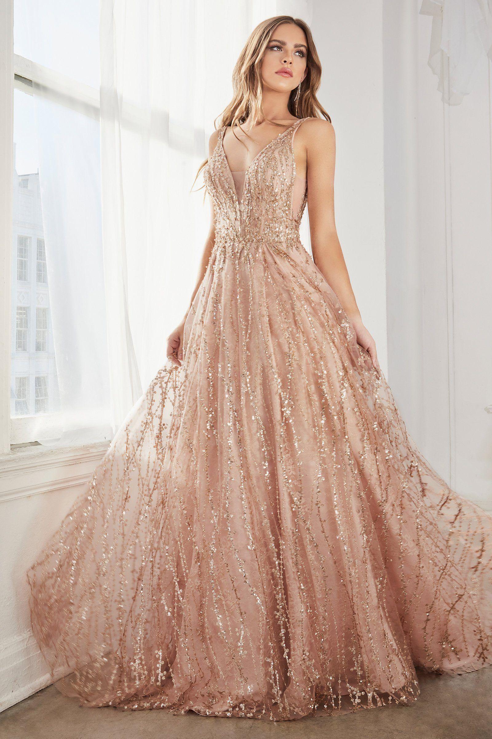 Long A Line Glitter Lace Dress By Cinderella Divine C32 Cute Prom Dresses Gowns Fancy Dresses [ 2400 x 1600 Pixel ]