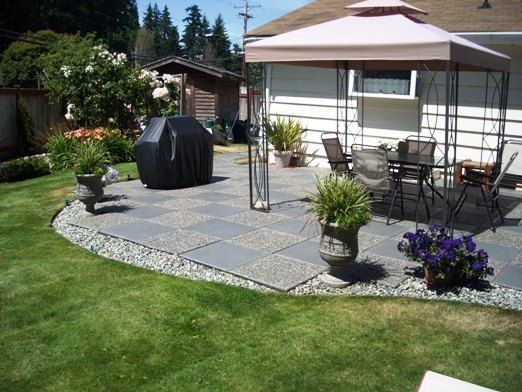 Good Solution For The Hard Edges Of Square Patio Blocks Use Rock To
