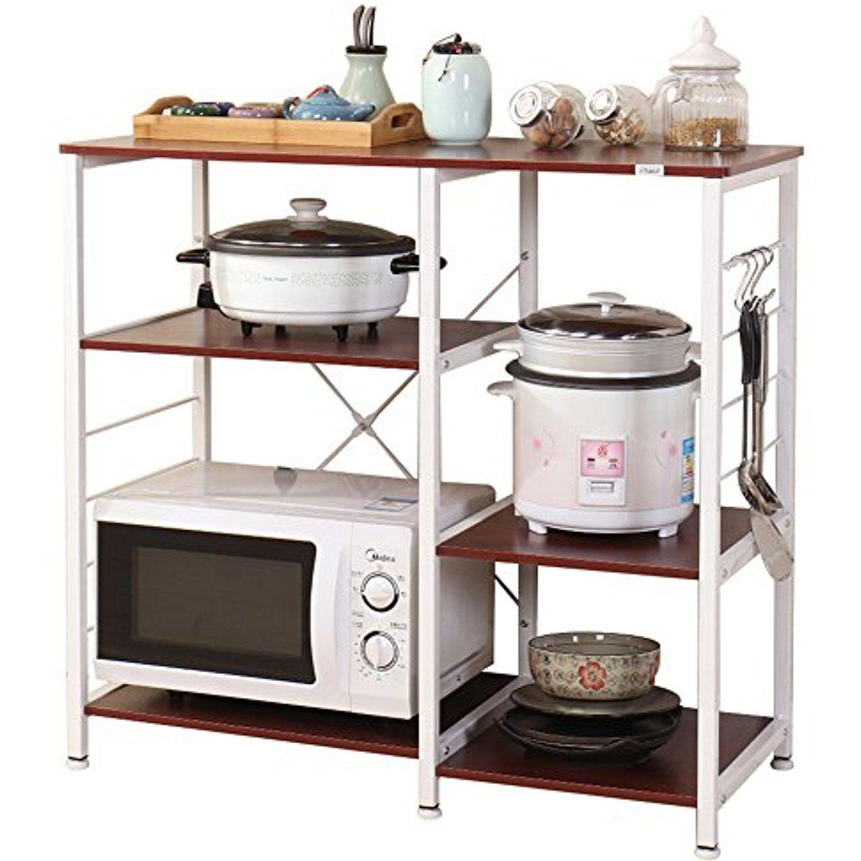 Dland Microwave Cart Stand 35 4 Kitchen Utility Storage 3 Tier For