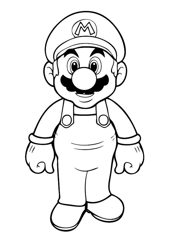 Photo of the mario standing with happy face Coloring Page