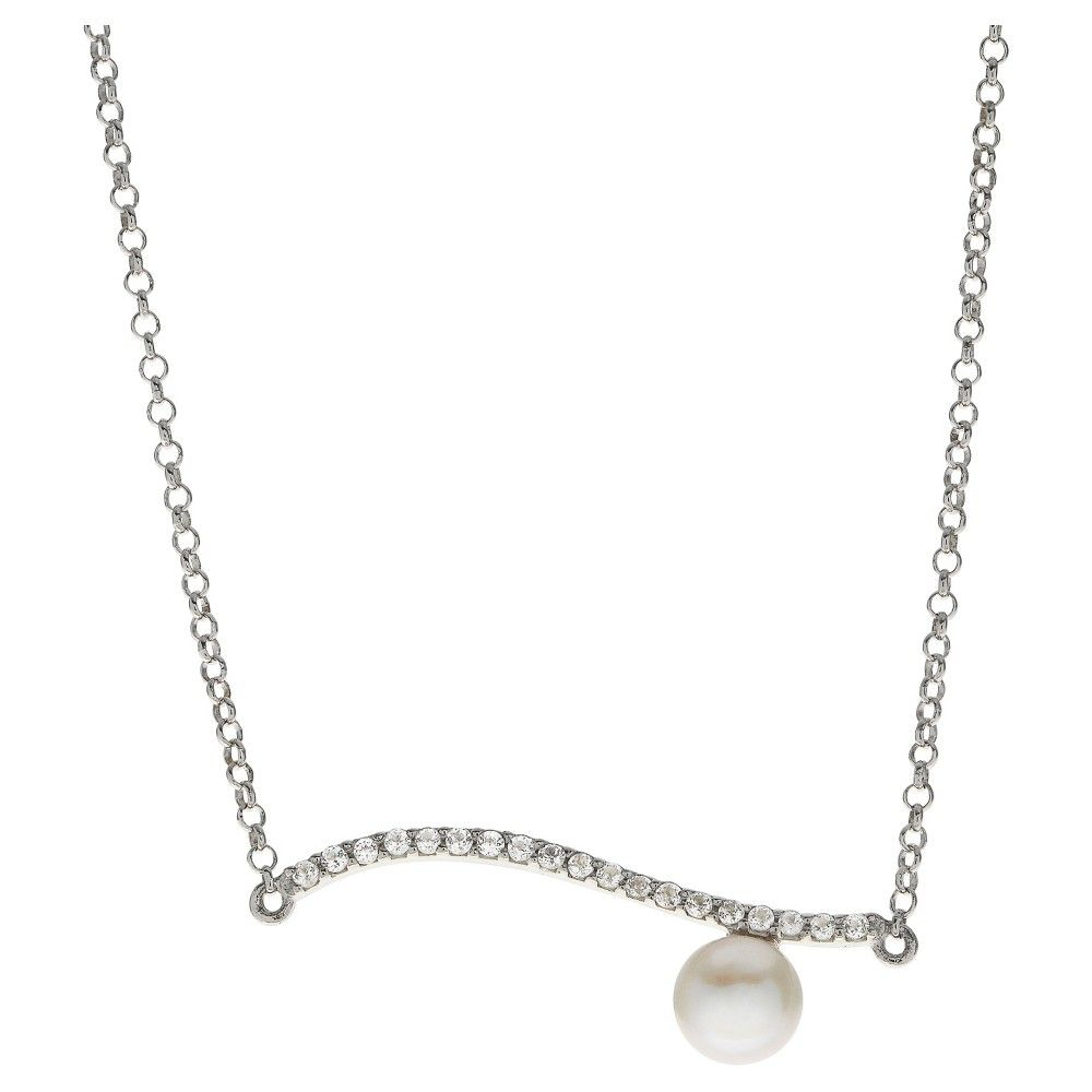 "PearLustre by Imperial 17"" + 1"" extender Sterling Silver Freshwater Cultured Pearl and White Topaz bar necklace, Women's, Size: Large"