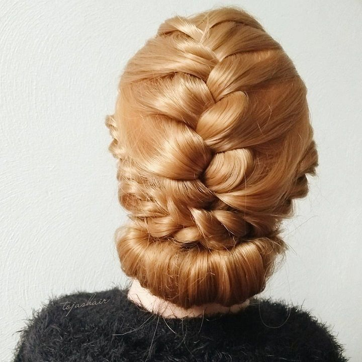 Braids turn to chignon hairstyle , wedding updo hairstyle ideas,chignon hairstyle ideas,braids