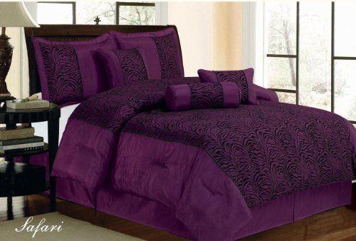 7 Piece Faux Silk Flocking Purple Black Zebra Comforter Set Queen