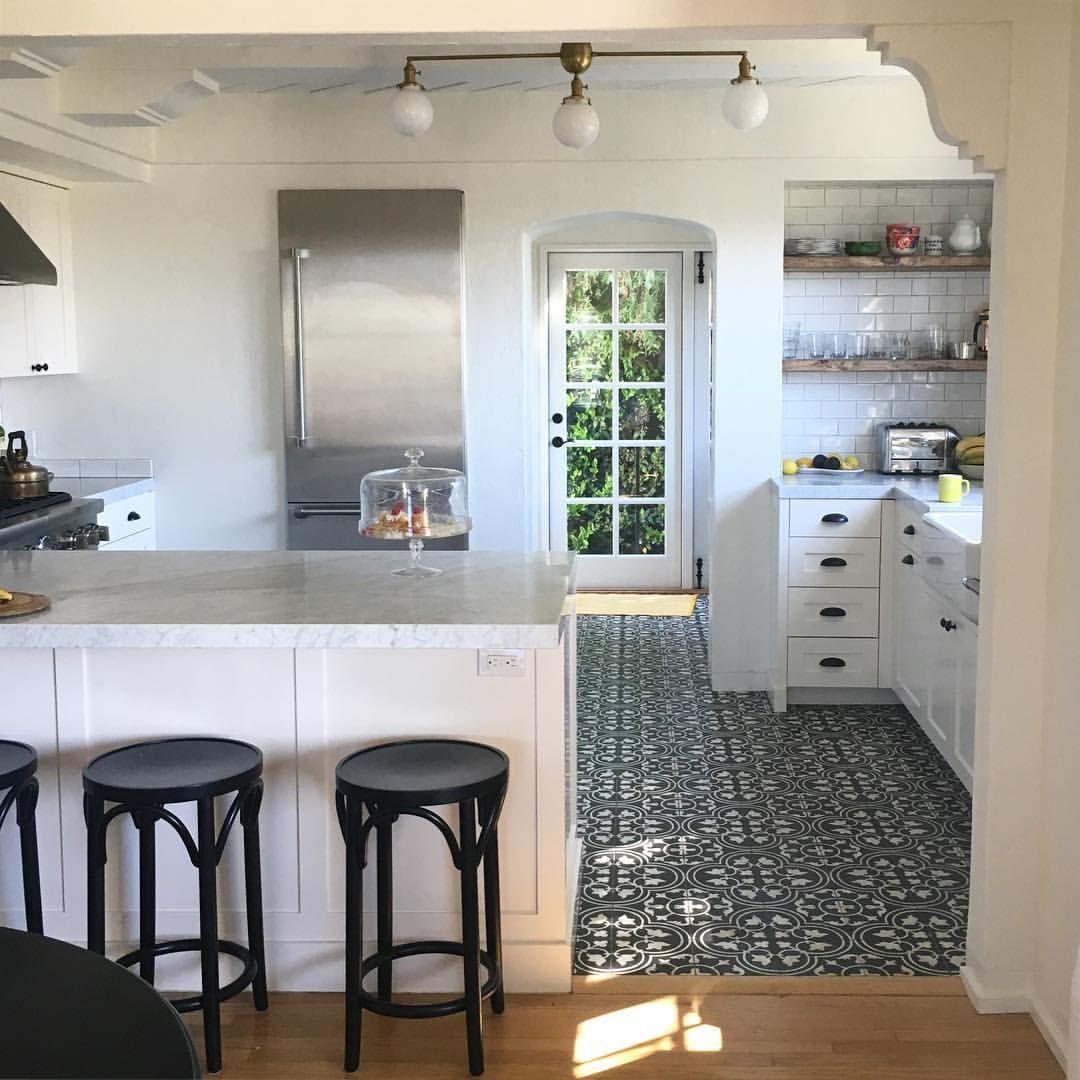 White kitchen with patterned tile floor   Patterned floor tiles ...