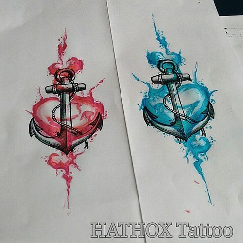 Photo of Études pour ancres de tatouage et coeurs aquarelles – #Anchor #Watercolor # for #Heart #Stud …