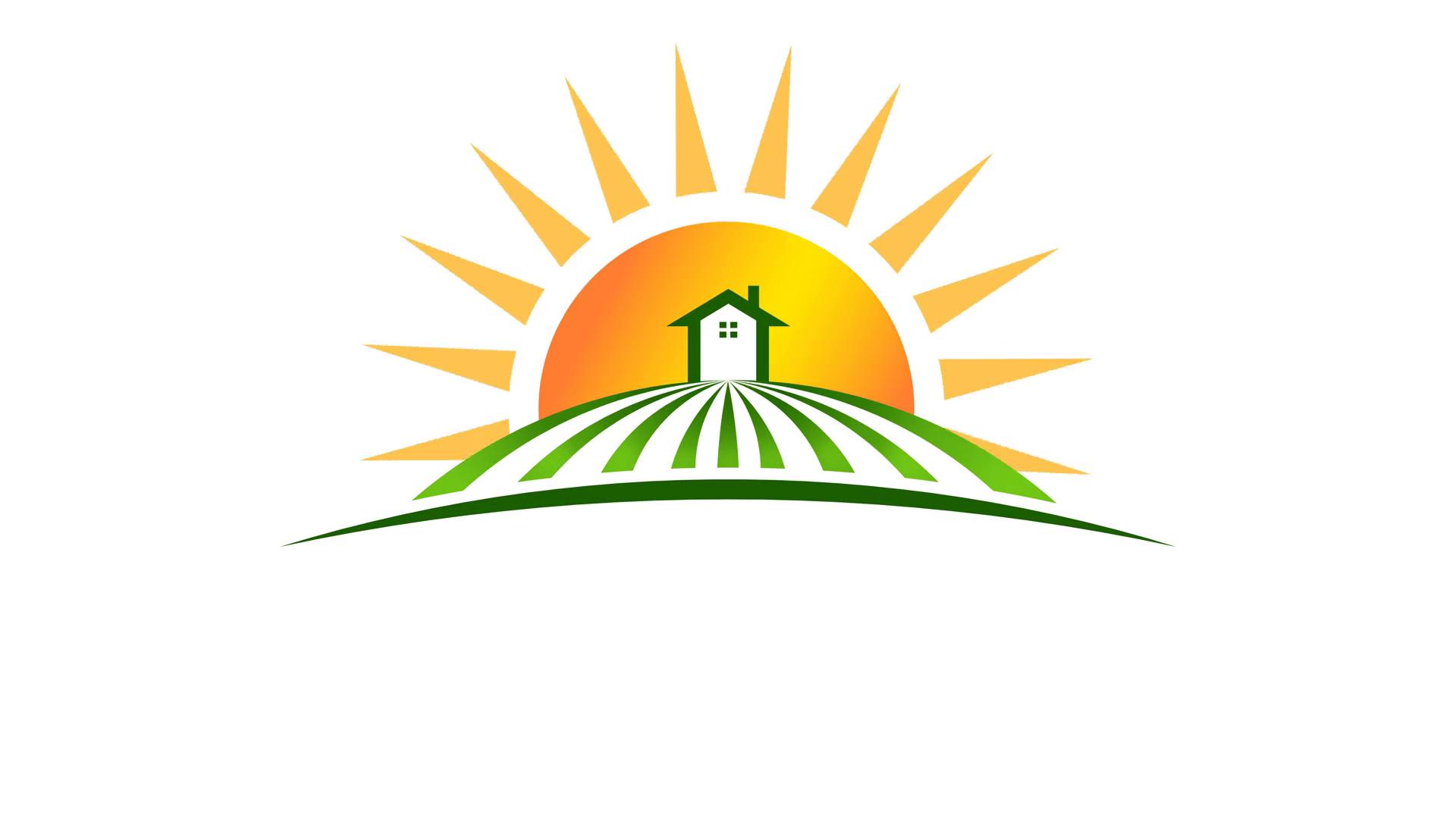 Sun With House In Field Logo Video Animation Hd Motion Background Videoblocks Sunshine Logo Home Logo Animation Background