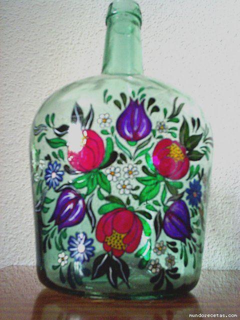Manualidades pintar garrafas de cristal buscar con - Manualidades con botellas de cristal ...