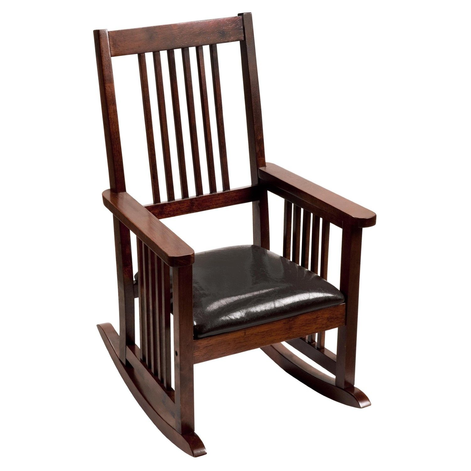Mission Style Childrens Rocking Chair With Upholstered Seat