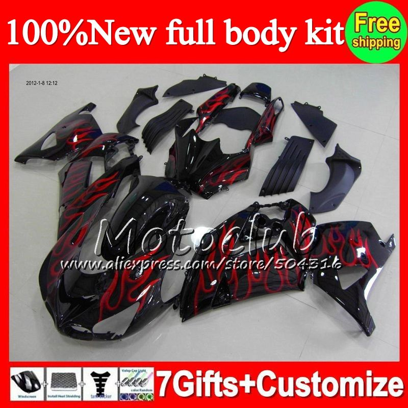 Fairing Hot Red Black For Kawasaki Ninja Zx14r 12 14 Zx 14r 12 13 14 Zx14 R Red Flames C030 Zx 14r 2012 2013 2014 Zx 1 Kawasaki Ninja Black And Red Sport Shoes