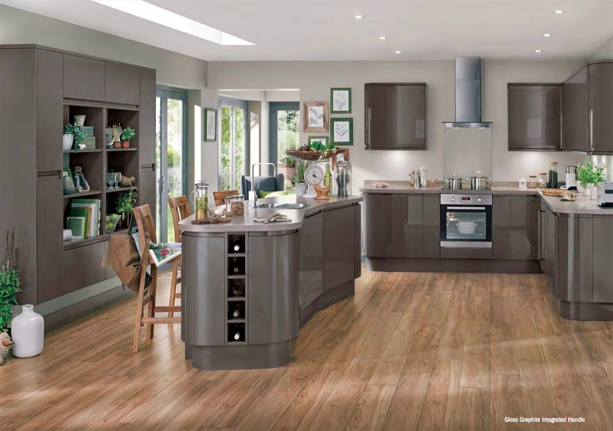 Grey Kitchen Design Ideas Part - 45: Alluring Grey Kitchen Design Inspirations : Exceptional LShapde Grey Kitchen  With Grey Glossy Kithcen Cabinet And