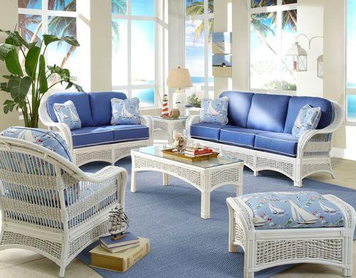 Regatta 5 Pc White Rattan Living Room Set Model R W Sunrm
