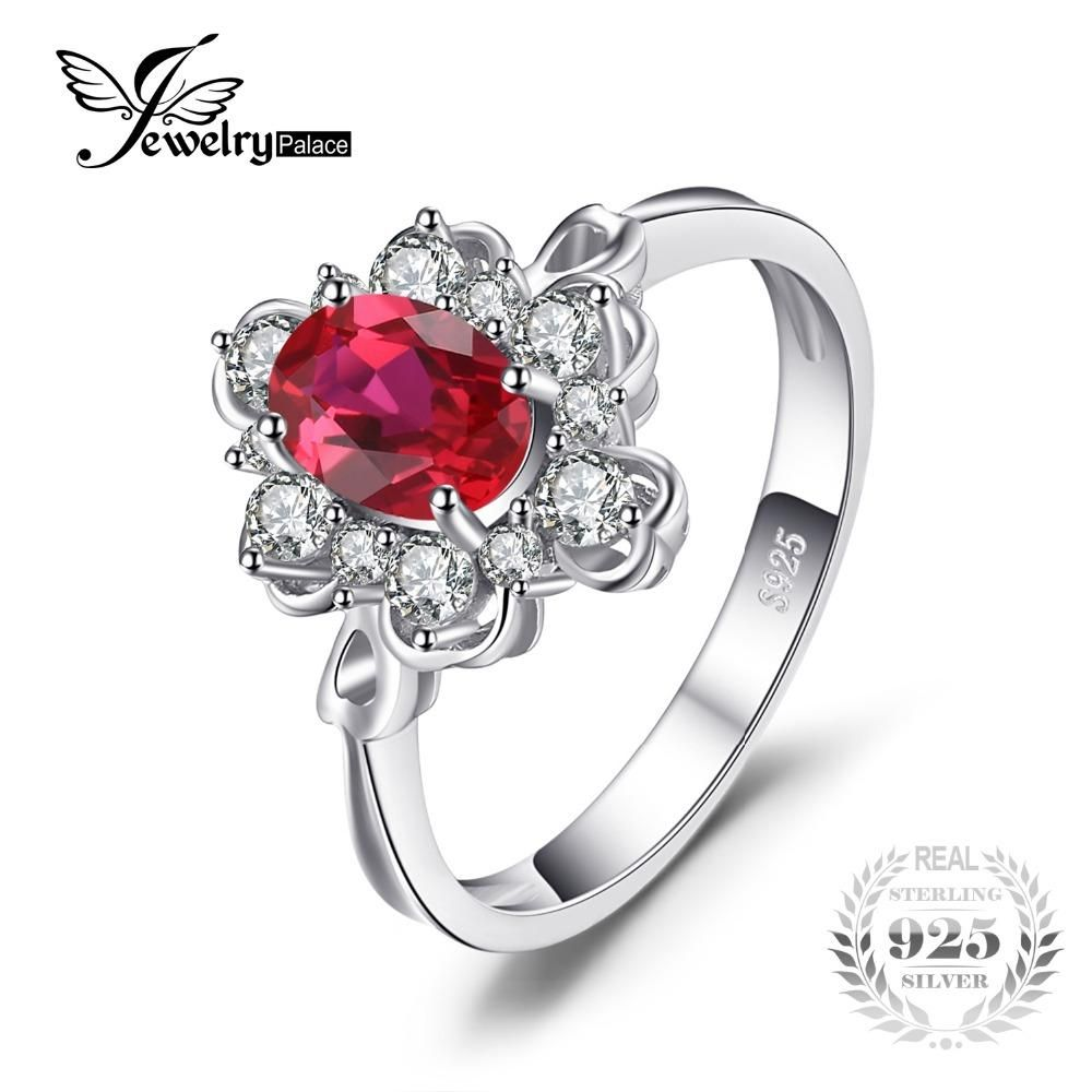 Jewelrypalace elegant ct oval created red ruby engagement