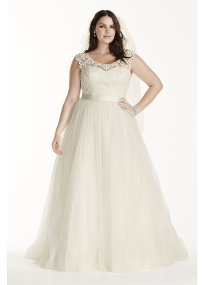 Tulle Plus Size Wedding Dress with Lace Cap Sleeve 9WG3741 http ...