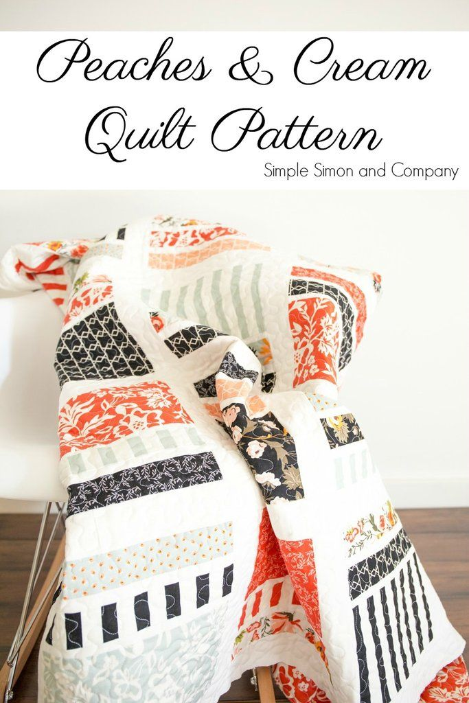 PATTERN (PDF) Peaches & Cream Quilt (Immediate Download) is part of Quilt patterns free, Layer cake quilts, Layer cake quilt patterns, Quilt tutorials, Quilt patterns, Free quilting - This listing is for a Peaches & Cream PDF Quilt Pattern  This pattern requires 25 squares of fabric each measuring 10  x 10  as well as 2 yards of solid colored fabric  It is an easy sew and makes a large sized lap quilt