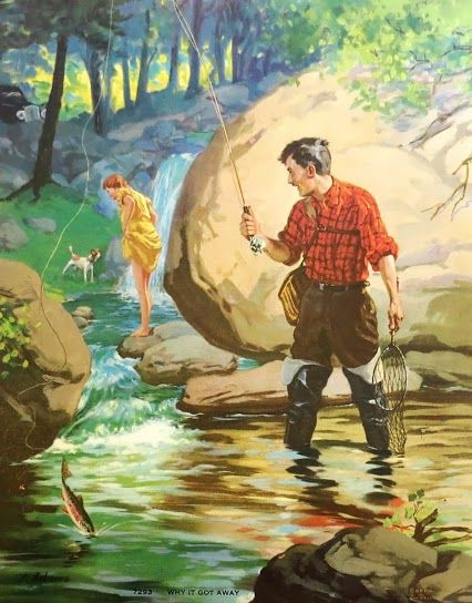 vintage poster - fly fishing- the one that got away | Vintage Outdoors | Pinterest | Fly fishing