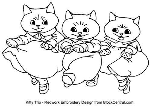 Kitty Trio Free Redwork Embroidery Pattern Silk Ribbon