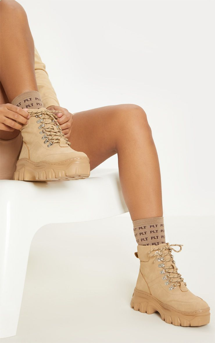 Sand Flatform Chunky Hiker Boot