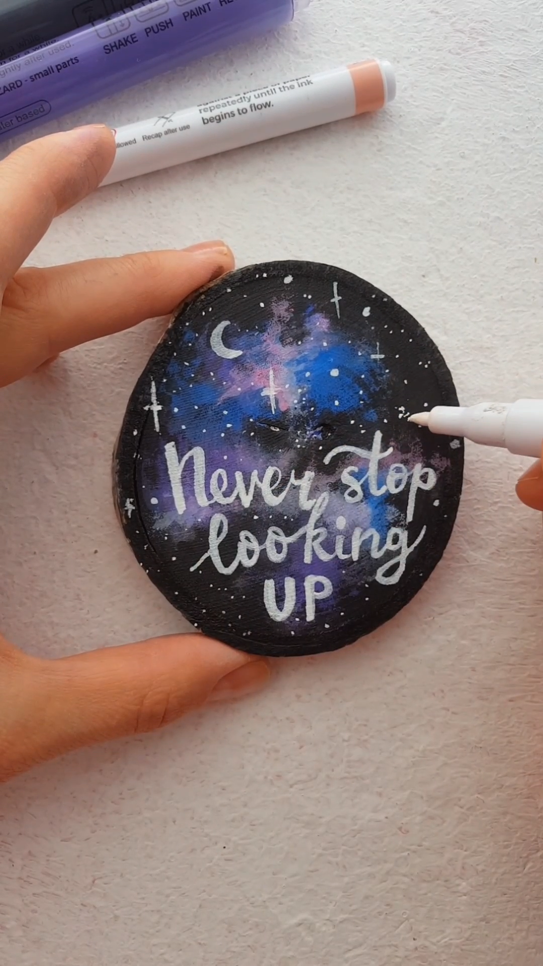 Never Stop Looking Up Painting on Wood Slice