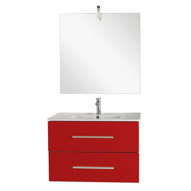 Meuble de salle de bains rouge 80 cm Prof. 38 cm Volga - CASTORAMA ...