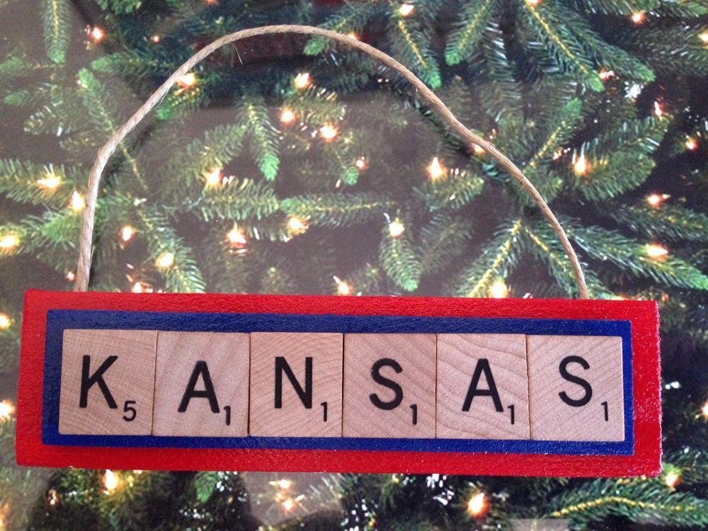 KANSAS University Jayhawks KU Christmas Ornament Scrabble Tiles - KANSAS University Jayhawks KU Christmas Ornament Scrabble Tiles