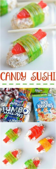 The kids will go crazy for this Candy Sushi! Made with rice crispy treats, Swedish fish candy and fruit roll ups. This dessert sushi recipe is easy to make, portable and great for parties. #dessertsushi The kids will go crazy for this Candy Sushi! Made with rice crispy treats, Swedish fish candy and fruit roll ups. This dessert sushi recipe is easy to make, portable and great for parties. #candysushi