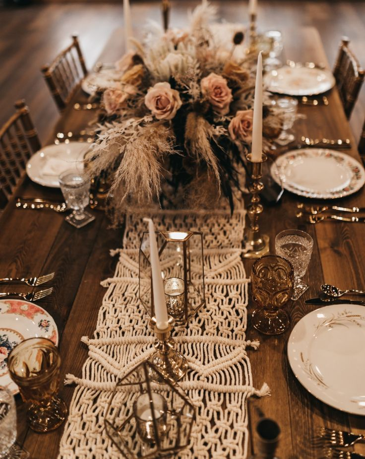 Rustic Bohemian Outdoor Wedding Inspiration #tabledecor #bohochic #weddingday #bouquet #weddingflowers #macrametablerunner #weddingtablerunners #bohotablerunner #weddingplates #weddinggoblets