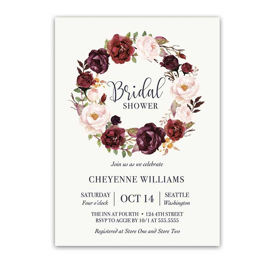 Burgundy Floral Bridal Shower Invitation Watercolor Wreath | An ...