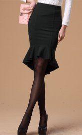 Black Slim Fish Tail High Low Ruffled Hemline Midi Skirt