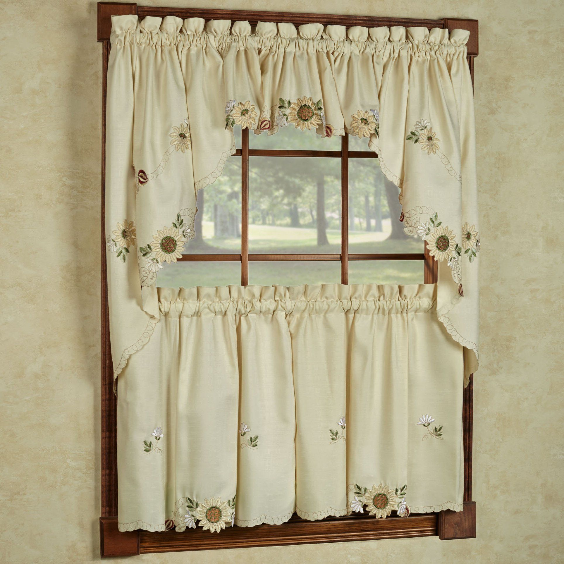 Sweet Home Collection 5 Pc Kitchen Curtain Set Swag Pair Valance