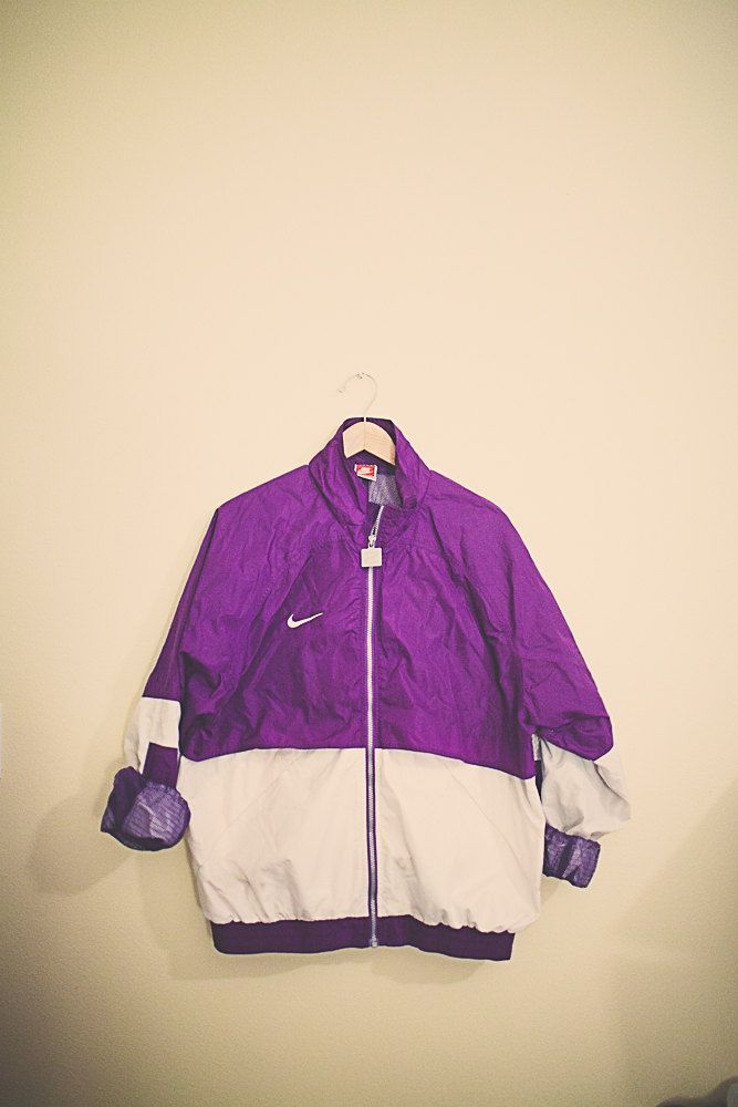 2b8f6c69ad 90 s Windbreaker Jacket Nike Purple White Coat Men s Large L Hipster Preppy  80s Club Kid Men s Wear Oversized Slouchy by 7CitiesVintage on Etsy