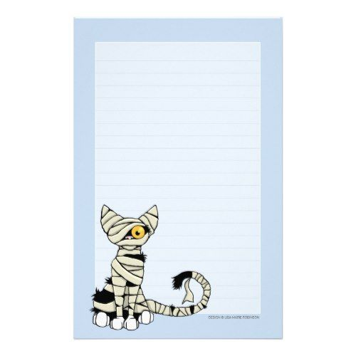 Paper Lined Mummy Cat  Halloween Note Paper Lined  Pinterest  Note Paper And .