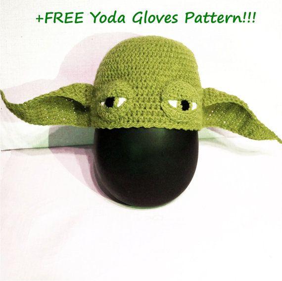 Yoda Hat Crochet Pattern + Yoda Gloves Crochet Pattern Set, Star ...