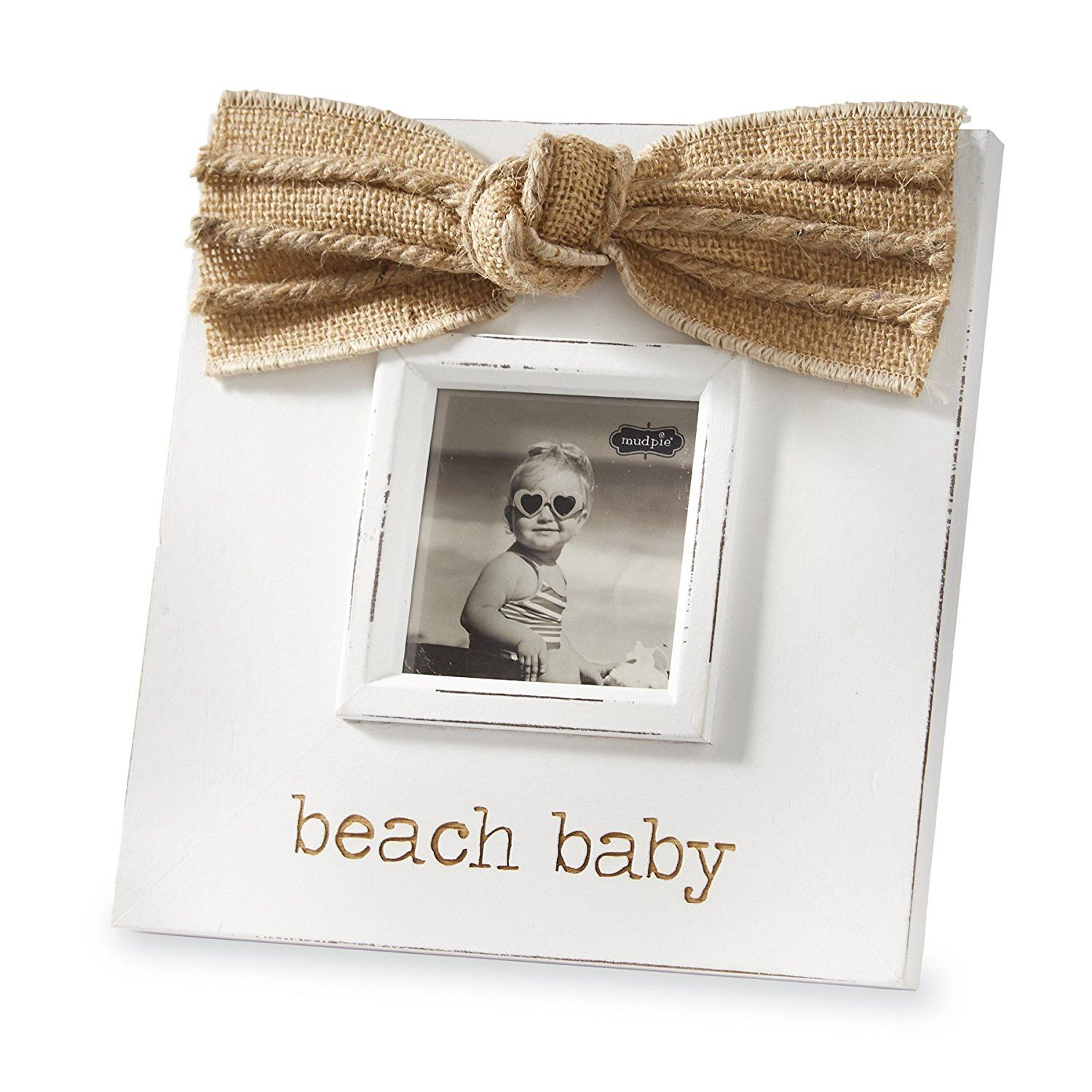 Mud Pie Beach Baby Wood Photo Frame Burlap Bow 3\' x 3\' *** Visit the ...