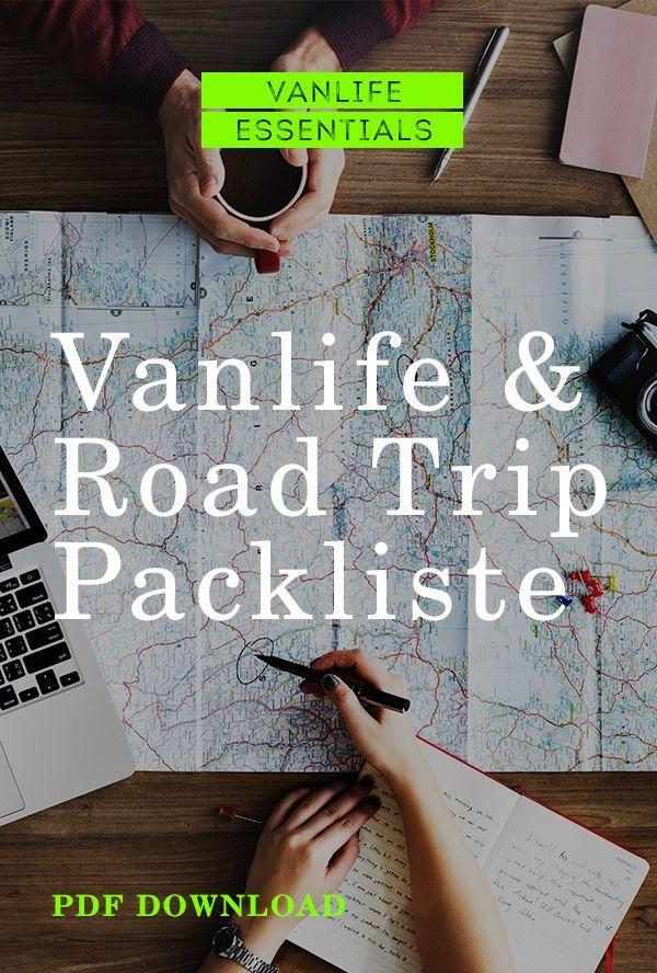Packliste für Road Trip und Campingbus - Mit PDF Download