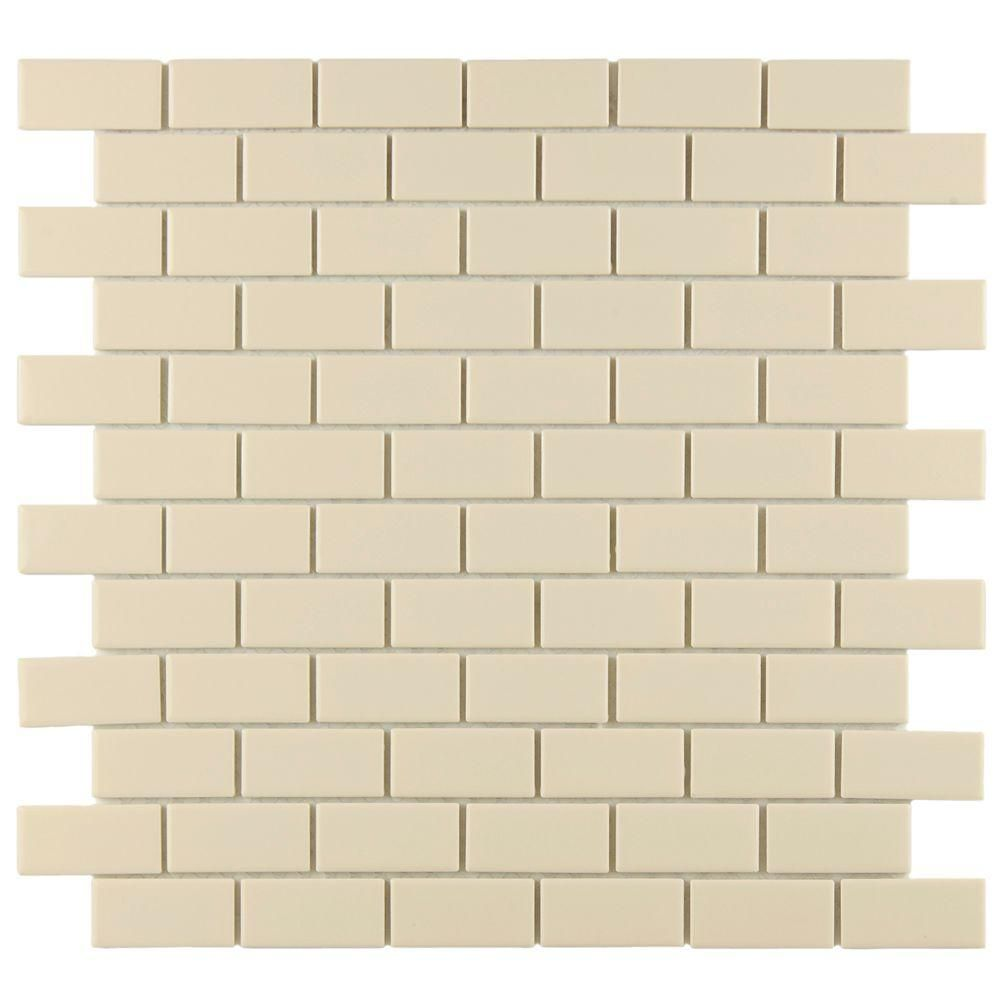 Merola Tile Metro Subway Glossy Biscuit 11-3/4 in. x 11-3/4 in. x 5 ...