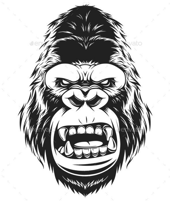 Fierce Gorilla Gorilla Illustration Gorillas Art Monkey Tattoos