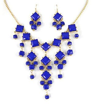 Look at this #zulilyfind! Gold & Blue Square Bib Necklace & Earrings by MOA International Corp #zulilyfinds
