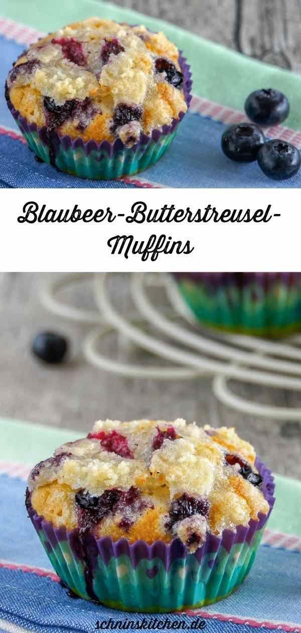 Blaubeermuffins mit Butterstreuseln - Fluffig und saftig - Schnin's Kitchen
